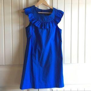 J. Crew Royal Blue Cotton Ruffle Eyelet Dress